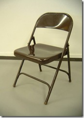 steel folding chair - fold, apply to back of belligerent customer