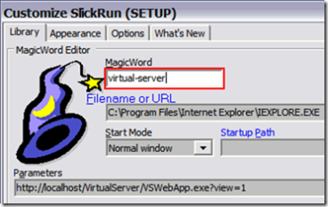 SlickRun virtual-server MagicWord
