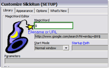 SlickRun - Google search MagicWord settings
