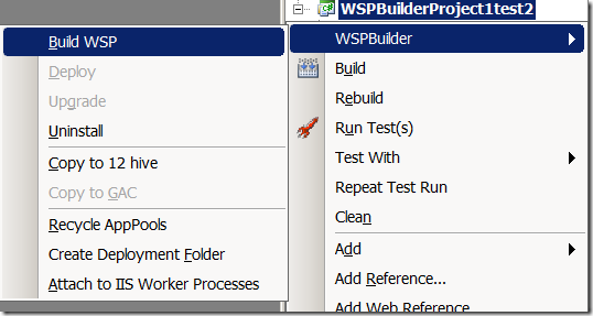 WSPBuilder shortcuts - excellent productivity boosters