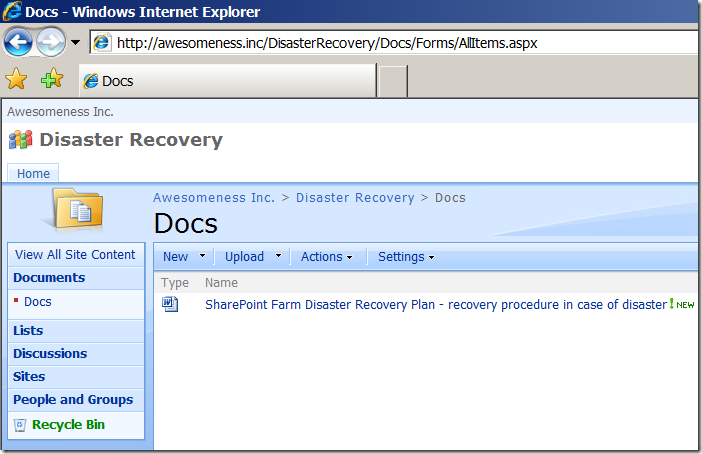 SharePoint disaster recovery site