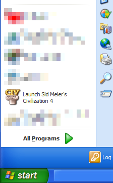 Civilization 4 is prominently displayed on my most frequently used programs list